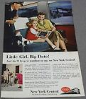 1952 NEW YORK CENTRAL SYSTEM WATER LEVEL ROUTE LITTLE GIRL BIG DATE MAGAZINE AD