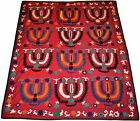 B7 Old Wall Hanging Hand Made Embroidered Silk Vintage Suzani Antique Embroidery