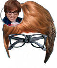 Austin Powers Fancy Dress Costume 2 piece Kit Brown Wig and Black Glasses