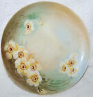 ANTIQUE 1910 HAND PAINTED PLATE WITH YELLOW FLOWERS