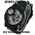 MENS ICED OUT ICE NATION/PAVE MASTER BLACK HIP HOP WATCH WITH BULLET BAND