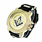 BRAND NEW!! ICED OUT ICE NATION GOLD/BLACK MASONIC WATCH WITH BULLET BAND