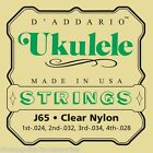 DADDARIO J65 SOPRANO UKULELE STRINGS CLEAR NYLON
