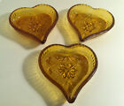 SET OF 3 AMBER INDIANA/TIARA HEART DEPRESSION GLASS CANDY/NUT DISH OR ASH TRAYS
