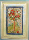 painted pottery wall hanging plaque blooming tree