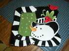 NEW  FITZ AND FLOYD FROSTY'S FROLIC SNACK SNOWMAN PLATE