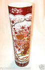 Japanese Mint Asian Pottery Ceramic Cylinder Flower Vase with Gold Paint