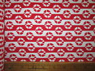 2 3/8 YDS:100% COTTON PRINT FABRIC - SHIP - RED #9417