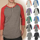 Alternative Mens Eco-Jersey 3/4 Sleeve Raglan Henley T-Shirt  S-2XL 1989-AA1989
