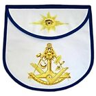 Round Masonic Past Master Apron, Blue Trim