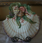 STUNNING FITZ AND FLOYD OCEANA CANDY DISH DECORATED W/SEASHELLS-MINT CONDITION