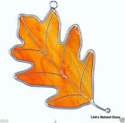 Amber Oak Leaf Stained Glass Ornament