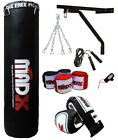 MADX 4ft 5ft Filled Heavy Punch Bag Custom Build SetChainBracketGlovesRope