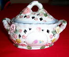 Vntg Capodimonte Container with Lid Porcelain/Ceramic Cutwork  Hand Painted
