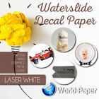 LASER Waterslide Decal Paper WHITE 85 x 11 100 sheets