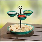 Two Tier Gourmet Buffet Stoneware Chip & Dip Sauce  Buffet Party Holiday Server