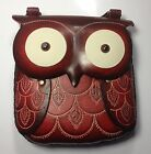 Genuine Leather OWL Red ,  Shoulder Purse, Pouch, Handbag, Hand Tooled