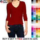 Basic V Neck T Shirt Plain Solid Color Top Stretch Layer Fitted Women Thin 3058