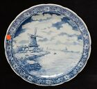 Large Vintage Boch Blue Delfts Porcelain Charger Plate Dutch Windmill S
