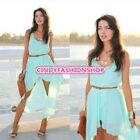 Womens Sleeveless Chiffon Summer Beach Hem Sundress Maxi Long Casual Dress USA
