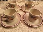 Corelle ABUNDANCE fruit 4 coffee cups and 4 saucer plates 8 pc lot total EUC