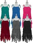 NWT Jon & Anna Tiered Ruffle Dress in Blue/Green/Pink/Red/Gray/Black in S-XL