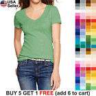 Basic V Neck T Shirt Solid Color Plain Top Stretch Layer Fitted Women Blank 3009