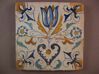 Antique Dutch Delft polychrome Tile Tulip with heart 17th. -- free shipping Nr4