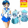 Sailor Mercury Costume Cosplay Uniform Fancy Dress Up Sailormoon Outfit & Glove