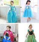 New Kids Girls Frozen Princess Queen Elsa And Anna Costumes Cosplay