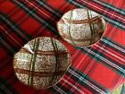 Set of 2 Blue Ridge Southern Potteries Rustic Plaid Brown & Green Cereal Bowls