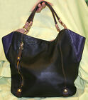 orYANY Leather Aquarius Colorblock Tote--Black, Purple & Nude