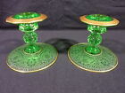 VINTAGE DEPRESSION GLASS Uranium green & etched CANDLE HOLDERS with Gold