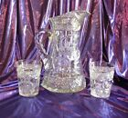 1900'S AMERICAN BRILLIANT CUT CRYSTAL PITCHER & 2 TUMBLERS - EXCELLENT