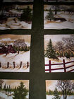 4 panels THROUGH THE WINTER WOODS Holly Taylor Moda Fabrics green barn
