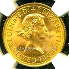 1958 BRITAIN Q E II GOLD COIN SOVEREIGN *  NGC CERT. GENUINE MS 63 AMAZING