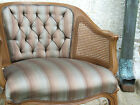 Vintage MCM French Louis XVI Caned Silk Upholstered Chair Hollywood Regency