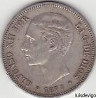 1877 DEM- SPAIN - 5 PESETAS SPANISH  SILVER COIN - KING ALFONSO XII - RARE YEAR