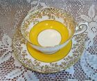 Shelley Pedestal Cabinet Cup Saucer Yellow Band Heavy Gold Gilt Border #0667