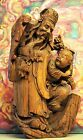 LARGE EARLY18th C Qing ANTIQUE CHINESE CARVED WOOD STATUE FIGURINES LOOK
