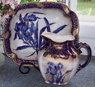 ANTIQUE Royal Doulton C1891-1902 FLOW BLUE IRIS Pitcher Bowl Set Flo Jug Basin *