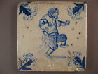 Antique Dutch Delft Tile dancing man rare 17th century -- free shipping