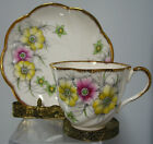 BEAUTIFUL,SALISBURY  VINTAGE  CUP AND SAUCER , COREOPSIS ,ENGLAND,RARE, VIOLETS
