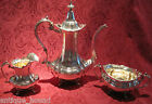 Reed & Barton Hampton Court 3 piece Tea Coffee Set Sterling Silver 1946 & 1947
