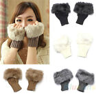 Womens Girls Vogue Faux Rabbit Fur Hand Wrist Warmer Winter Fingerless Gloves