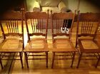 4 Antique Oak Cane Seat Spindle & Pressed Back Oak Chairs