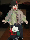 Collectible Porcelain & Cloth Clyde the Clown Doll with a Broom by Dynasty Dolls