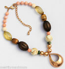 Chico's Signed Necklace Pretty Copper Bronze Teardrop Pendant Chunky Beads