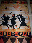 1 Panel HALLOWEEN MASQUERADE Barickman Red Rooster gold orange black silhouettes