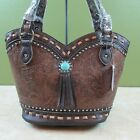 New TexCyn Purse Concealed Gun Carry Handbag Brown Tooled Faux Leather Tassel